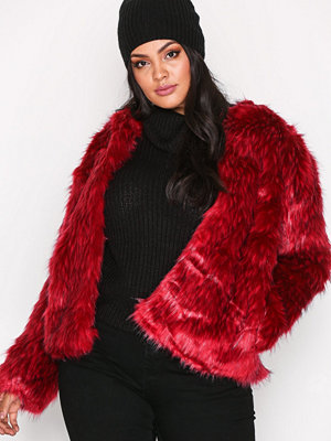 Fuskpälsjackor - Missguided Collarless Faux Fur Coat Red