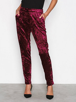 True Decadence vinröda byxor Velvet Trousers Burgundy
