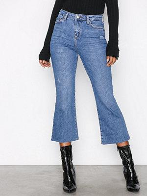 Topshop Moto Kick Flare Jeans Black