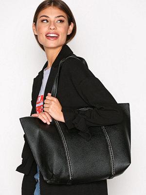 Topshop Chain Trim Shopper Bag Black