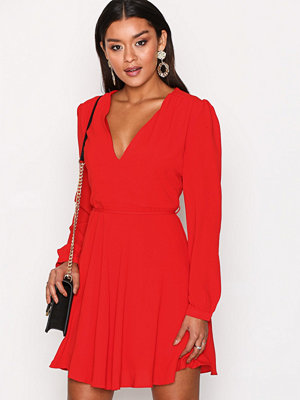 Glamorous Long Sleeve Flounce Dress Red