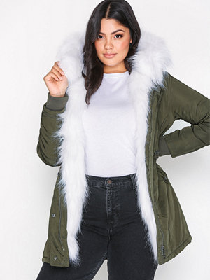 New Look Faux Fur Lined Parka Olive
