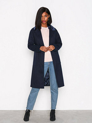 New Look Faux Fur Collar Coat Navy