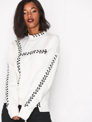 Topshop Lace Up Sweatshirt Cream