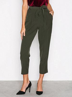 New Look omönstrade byxor Tie Waist Trousers Dark Green