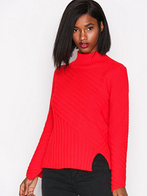 Topshop Rib Funnel Pullover Red