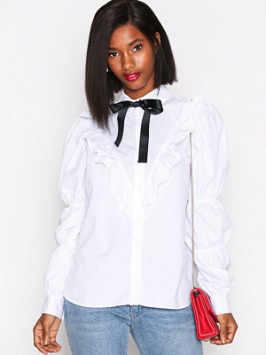 River Island Puff Tie Poplin Shirt White
