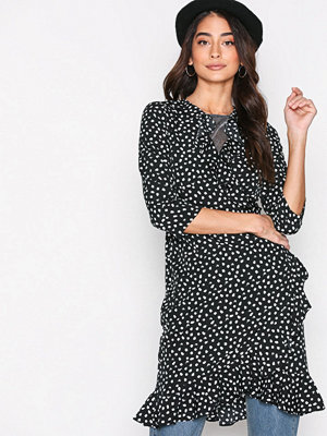 Vero Moda Vmhenna Dot 3/4 Wrap Abk Dress Exp Svart