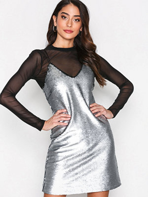 New Look Matte Sequin Slip Dress Silver