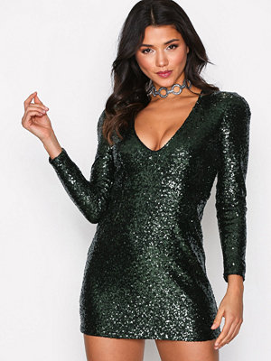 Glamorous Sequin Party Dress Dark Green