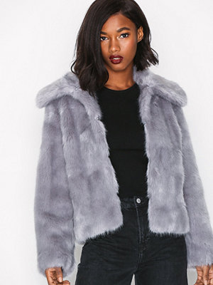Topshop Lux Fur Coat Grey