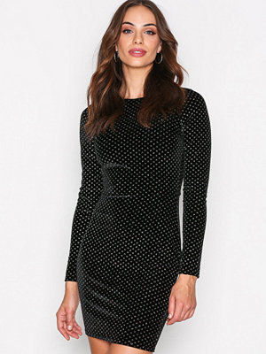 NLY Trend Sparkle Dot Velvet Dress Svart