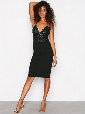 River Island Sequin Bodycon Midi Dress Black