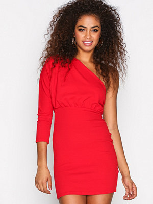 Missguided Plated One Shoulder Dress Red