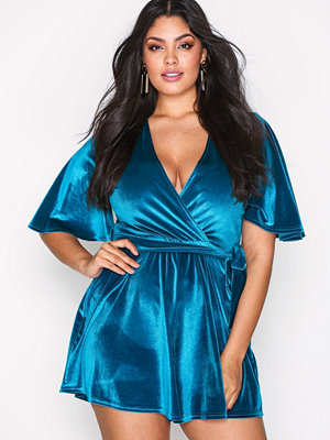 NLY One Wrap Velvet Playsuit Teal