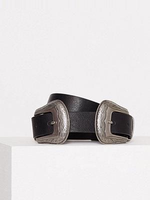 Topshop PU Double Buckle Belt Black