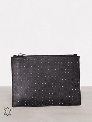 Calvin Klein Calvin Grid Flat Pouch M Svart kuvertväska med tryck
