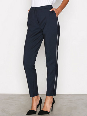 Selected Femme svarta byxor Sfmuse Piping Mw Cropped Pant - Dar Mörk Blå