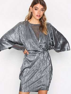 NLY Trend Knot Pleat Metallic Dress Silver