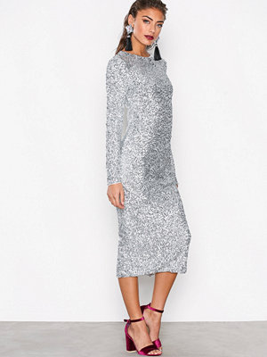 NLY Trend Midi Sequin Dress Silver