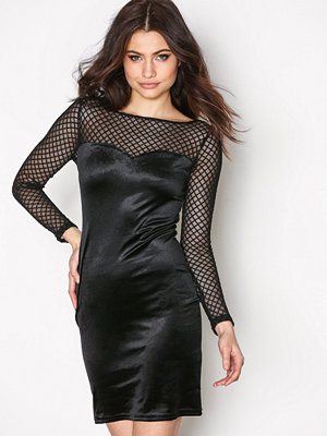 New Look Fishnet Velvet Bodycon Black
