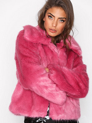 Topshop Lux Fur Coat Bright Pink