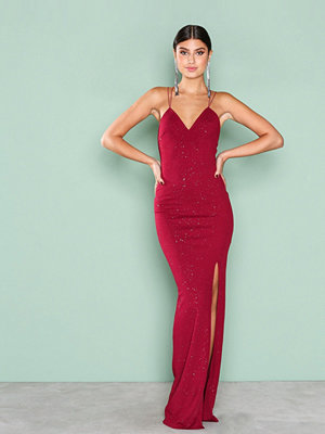 NLY Eve All Over Sparkle Gown Burgundy