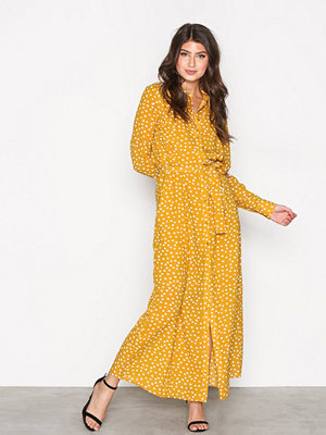 Selected Femme Sfchanie Ls Long Dress Rt Mörk Gul