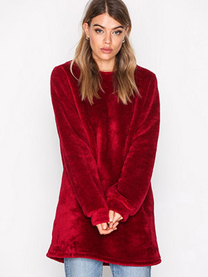 NLY Trend Faux Fur Fluffy Sweat Burgundy