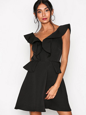 River Island Waisted Skater Dress Black