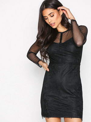 New Look Mesh Lace Bodycon Dress Black