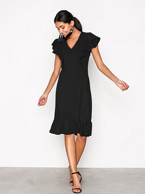 Closet Frill Hem and Shoulder Dress Black