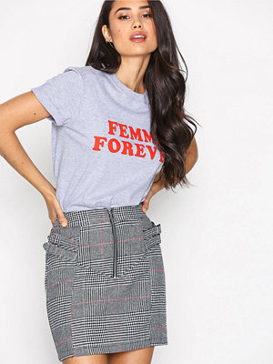 Topshop Buckle Side Checked Skirt Monochrome