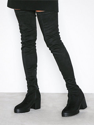 NLY Shoes Chunky Thigh High Boot Svart