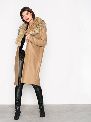 River Island Unlined Fur Collar Coat Camel