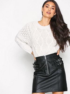 Topshop Double Buckle Zip Skirt Black