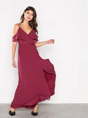 True Decadence Off shoulder Frill Dress Wine