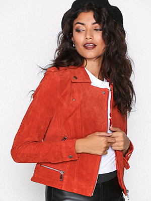 Vero Moda Vmroyce Short Suede Jacket Col Spicy Orange