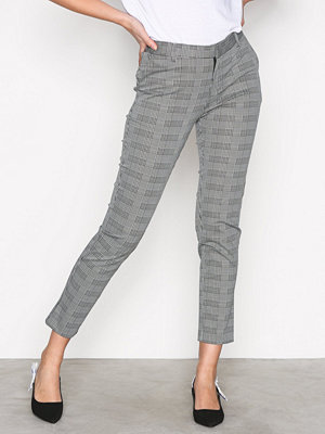 Neo Noir grå mönstrade byxor Indiana Black Check Pants Black
