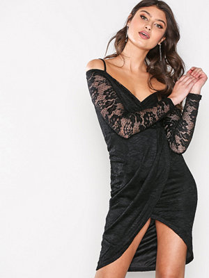 Ax Paris Laced Sleeve Wrap Dress Black