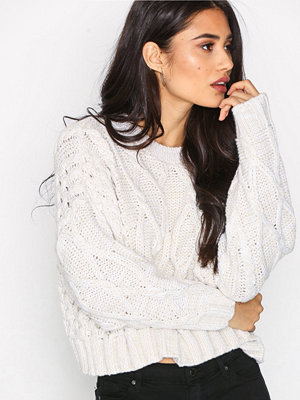 Topshop Cropped Cable Knit Jumper Oatmeal
