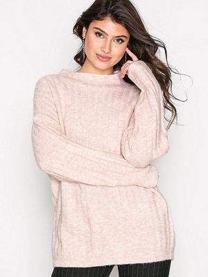 Selected Femme Sfmalia Ls Knit T-Neck Ljus Rosa