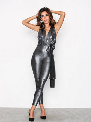 NLY One Multi Tie Metallic Jumpsuit Silver