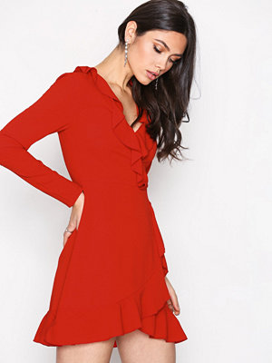 Missguided Ruffle Tea Dress Red