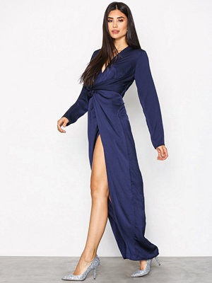 Missguided Wrap Front Maxi Dress Navy