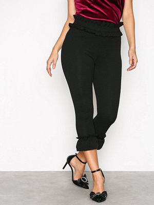 New Look svarta byxor Frill Trim Leggings Black
