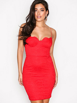 NLY One Lace Bodycon Dress Röd