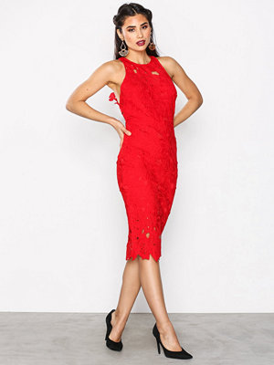 Missguided Crochet Lace Midi Dress Red