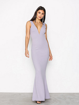 Missguided Plunge Maxi Dress Grey