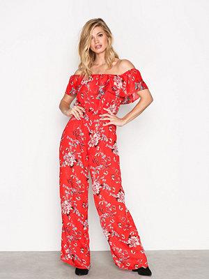 Glamorous Bardot Jumpsuit Red